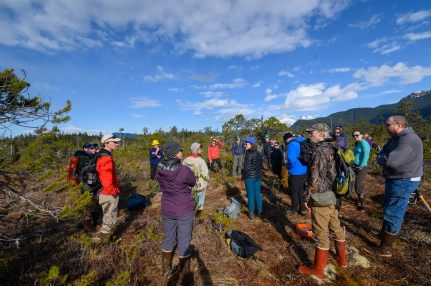 Participants discuss wetland dynamics at an emergent wetlands sight on Douglas Island. The peat in this location was nearly 3 meters deep, overlying a layer of glacial till.