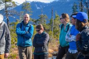 Jason Fellman, Emily Whitney, and Megan Behnke during a group discussion on Douglas Island.